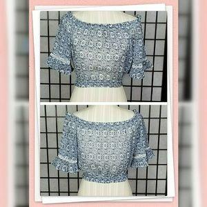 Hollister Sheer Crop Top Blue & White